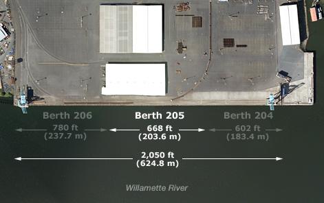 Berth 205 Length is 668 ft (203.6 m)