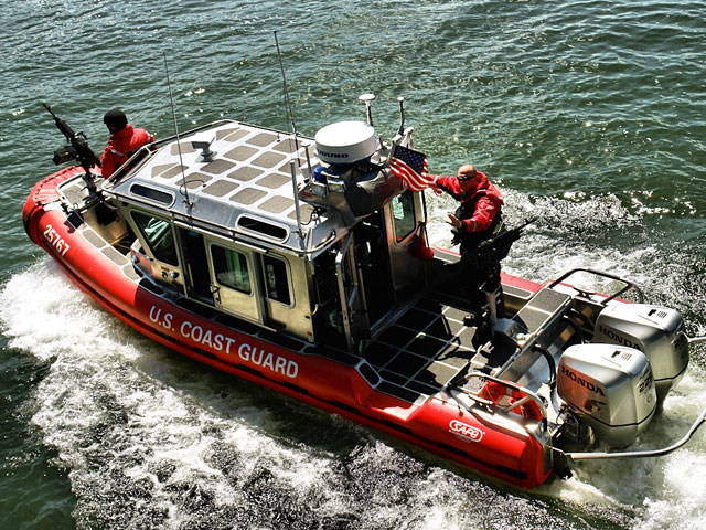 A Coast Guard rescue boat also participated in the demonstration for tour attendees. Photo courtesy of Steven Fritz.
