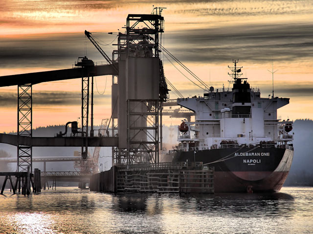 A ship being loaded at Terminal 5's Columbia Grain facility. Columbia Grain exported more than 4.7 million tons of grain in 2010. Photo courtesy of Steven Fritz.