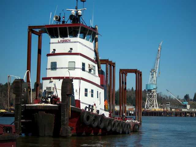 Attendees on the tour of Shaver were taken inside a tug and learned of the replacement of engines in four of their tugs to be more fuel efficient and environmentally friendly.