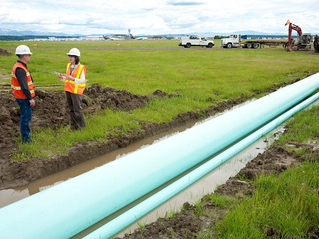 A 3,500-foot pipe was constructed near Elrod Road and Northeast 33rd before being pulled as deep as 70 feet below the crosswind runway and cargo center.  The pipe will transport stormwater between the existing storage infrastructure to the new treatement system.