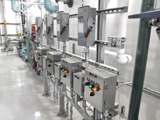 Treatement process control panels inside the treatment facility help facility operators make real-time decisions on how the facility is working, depending on weather conditions and deicing operations.
