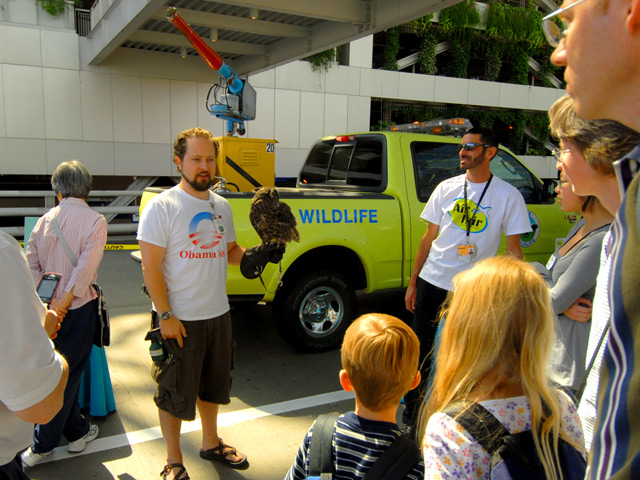During a PDX Air Fair, visitors learn about airport operations, including the PDX wildlife management program.