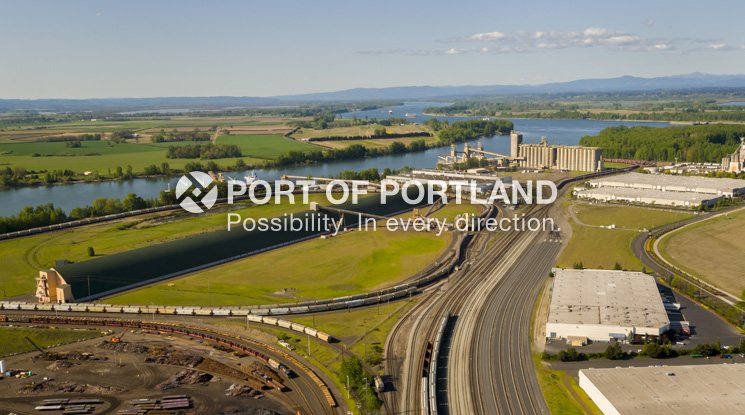 Grain and potash exports flow from Terminal 5 on the Willamette River. The terminal also includes a general manufacturing facility.