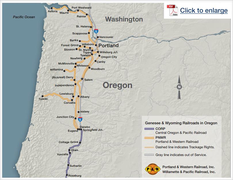 Genesee & Wyoming Railroads in Oregon