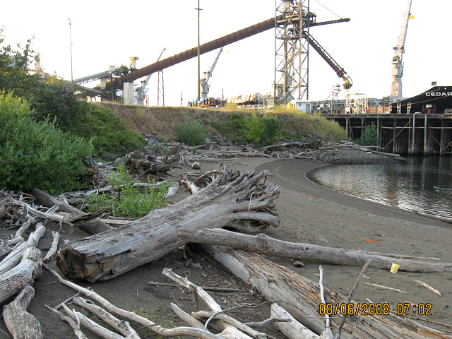 Wheeler Bay: Shoreline of Wheeler Bay prior to construction, looking toward Terminal 4.  Kinder Morgan's shiploader is in the background.