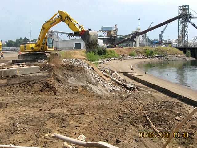 Wheeler Bay: An equipment access ramp to the work area.