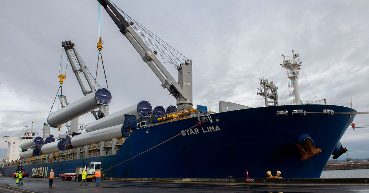Vestas delivers wind turbine parts through Port of Portland's Terminal 6