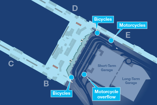 Map showing locations of bicycle and motorcycle parking in the terminal