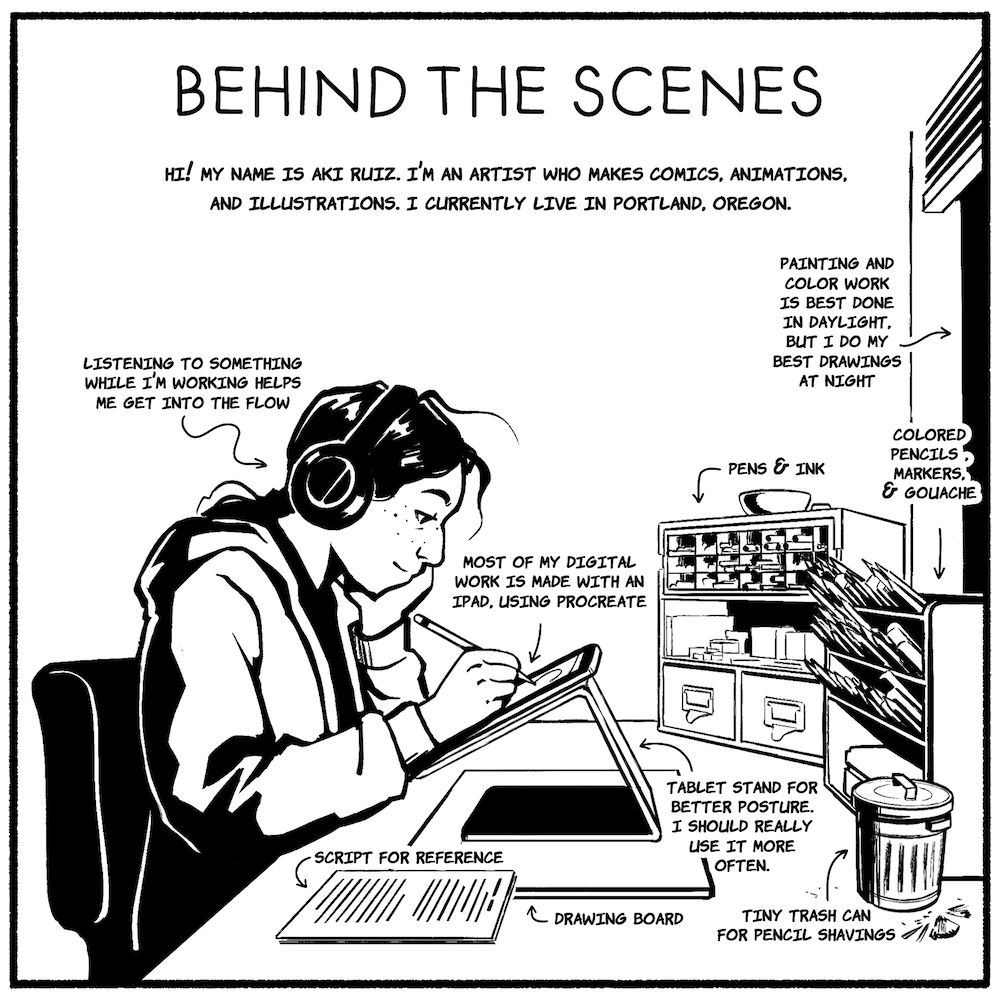 An illustrated self-portrait of the artist working at his desk