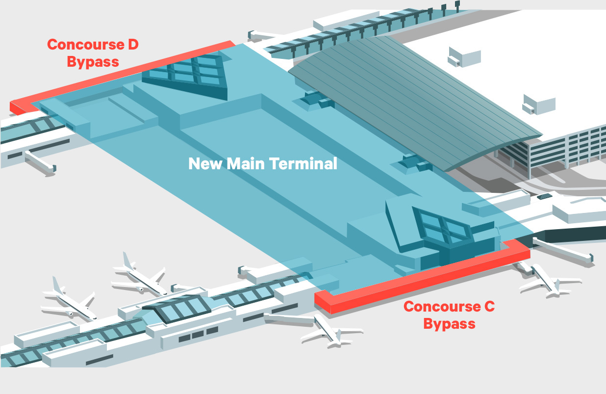 A map of the airport shows where two new bypasses will guide passengers around the construction zone in the main terminal