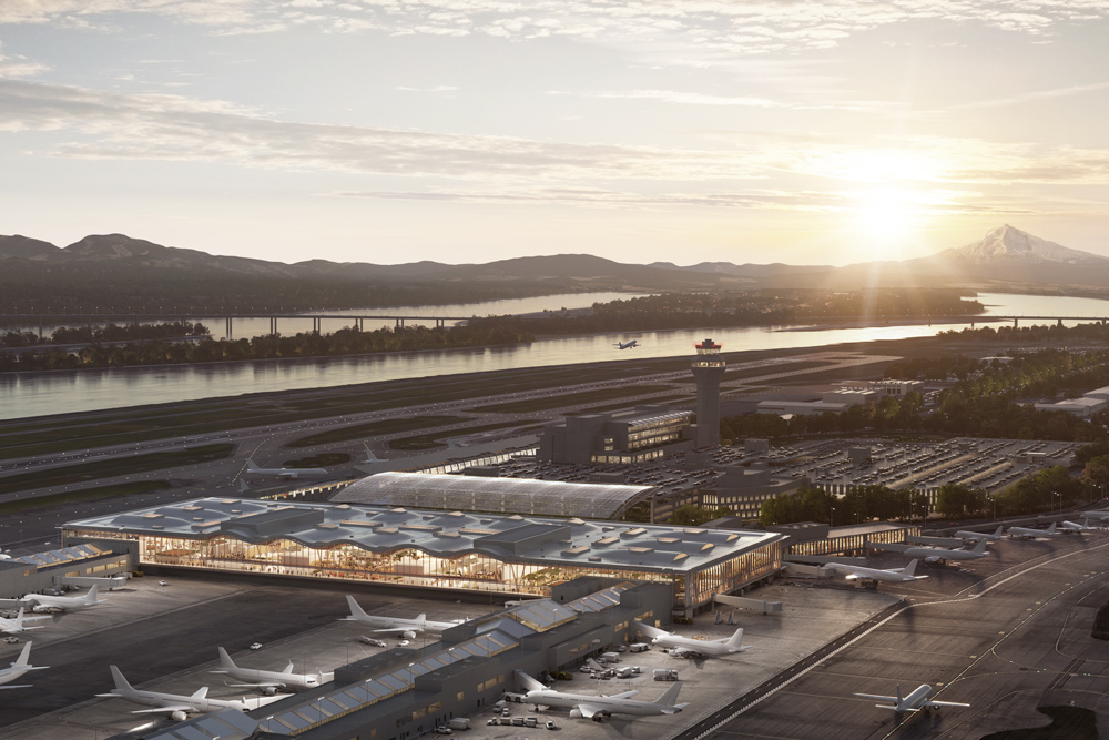 An exterior architectural rendering previews what the airport's rolling new roof will look like when it's complete in 2025