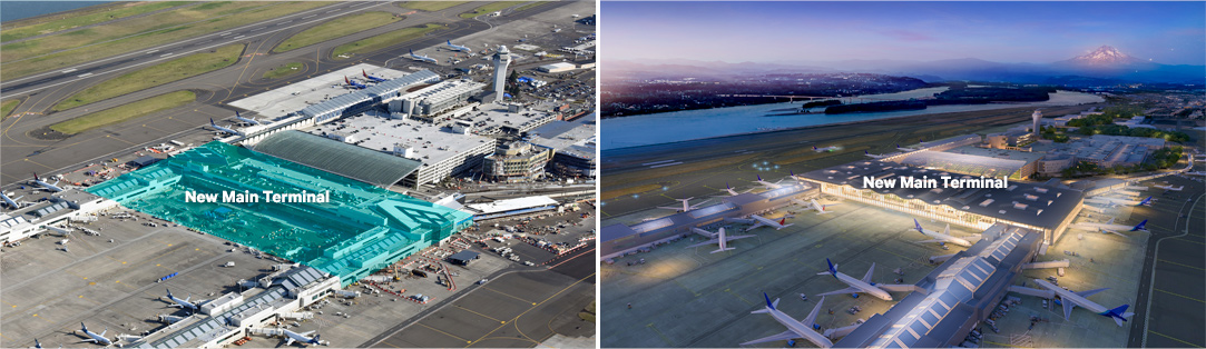 An aerial shot of the present-day airport highlights where construction teams will work to expand the airport's footprint by 150 feet