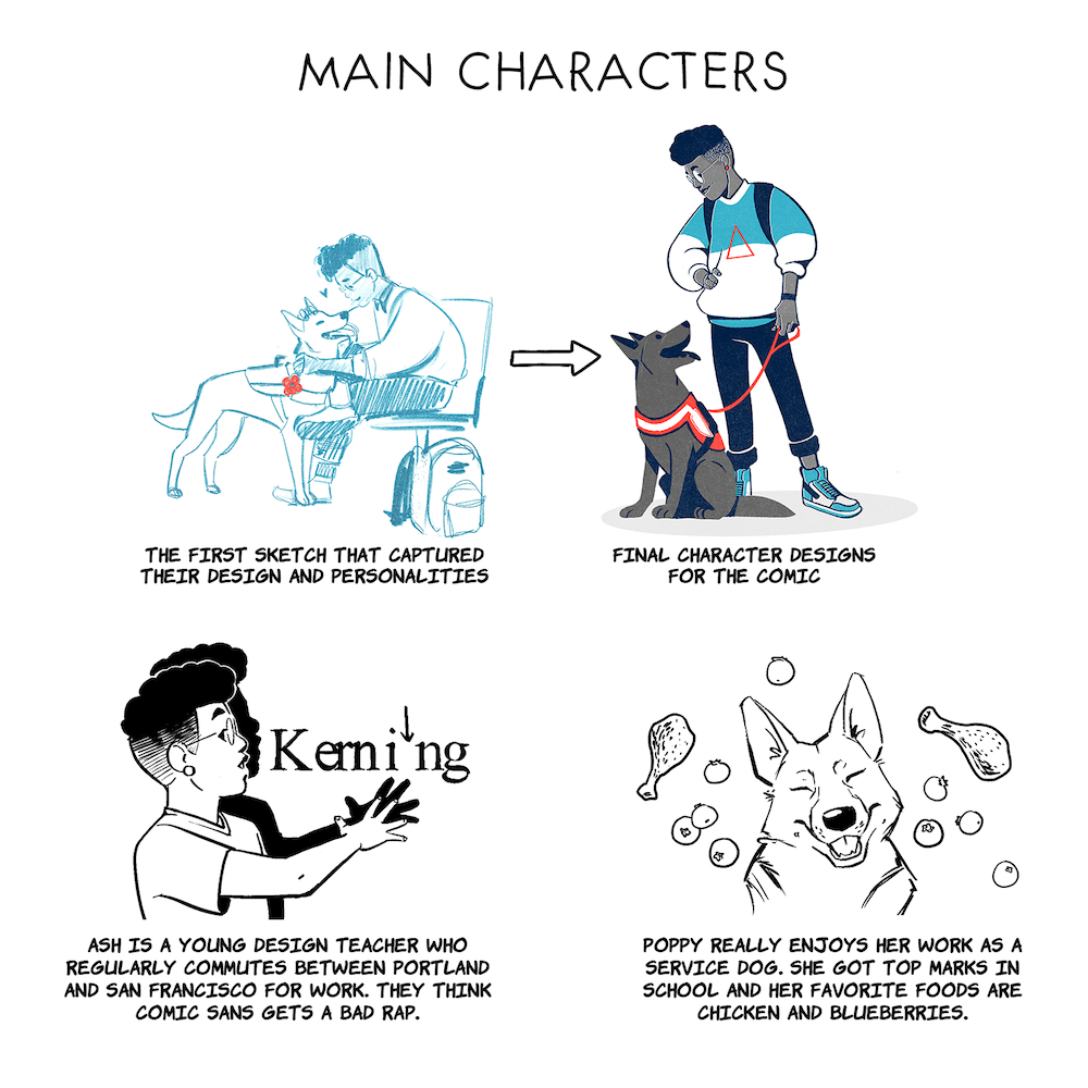 Before and after sketches of the characters, a human named Ash and their service dog named Poppy