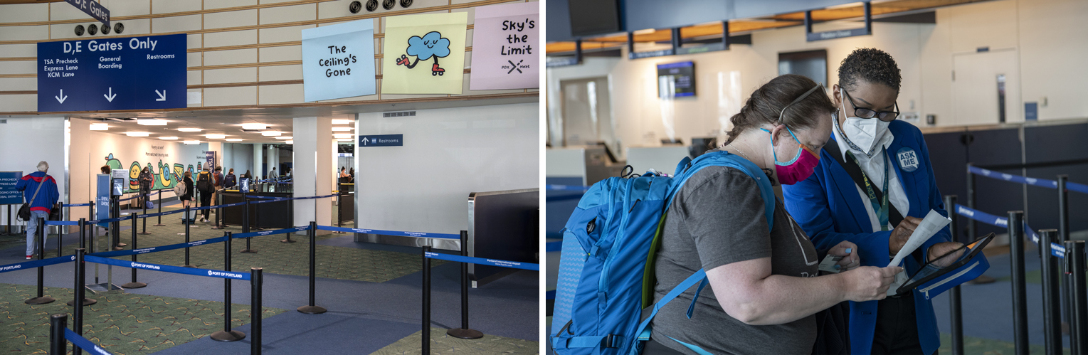 PDX employees are stationed throughout the ticket lobby to make sure you go through the correct security checkpoint
